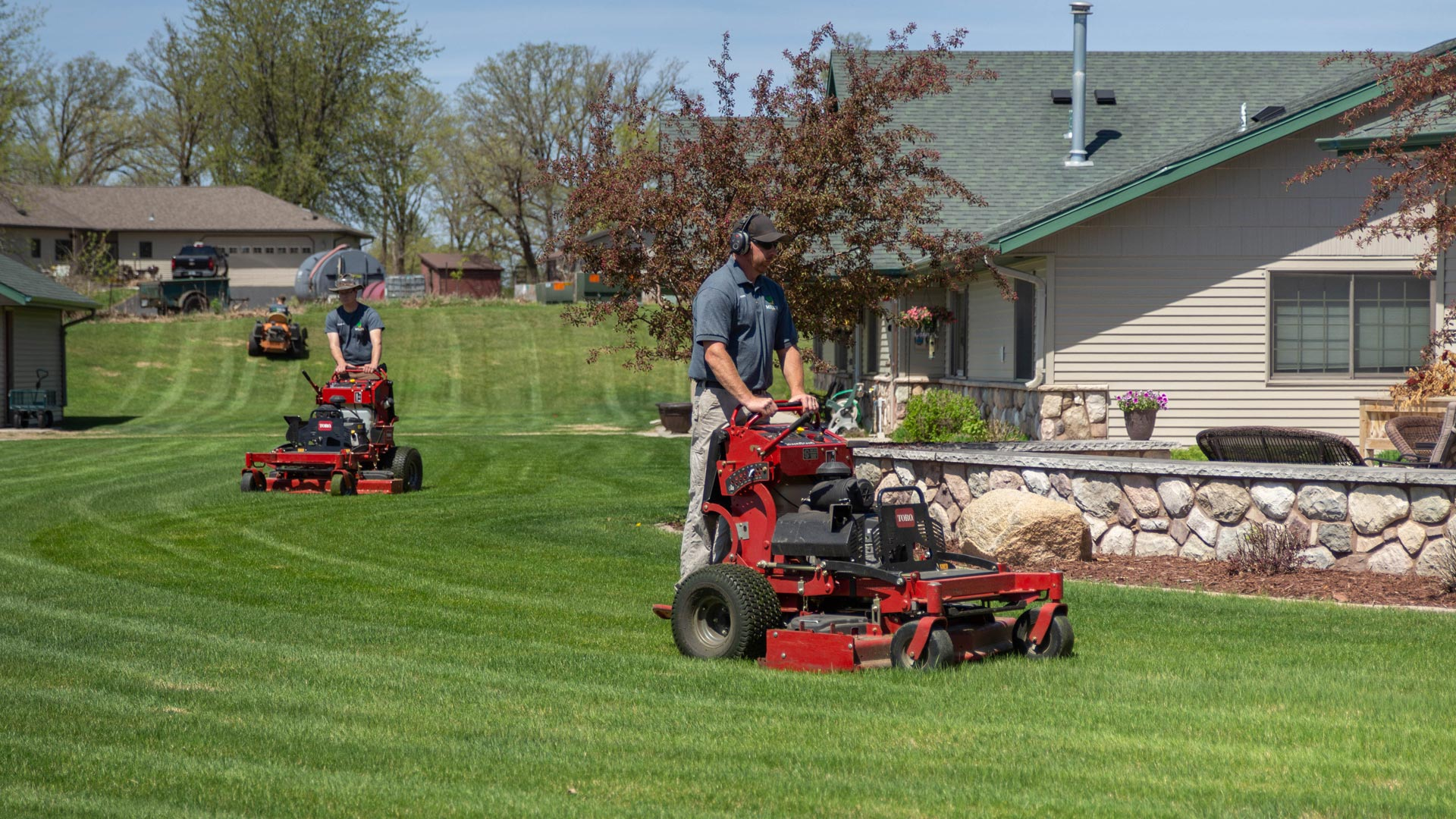 Property in Detroit Lakes, MN that has a regular lawn mowing and maintenance package with Miller Yard Care & Construction.