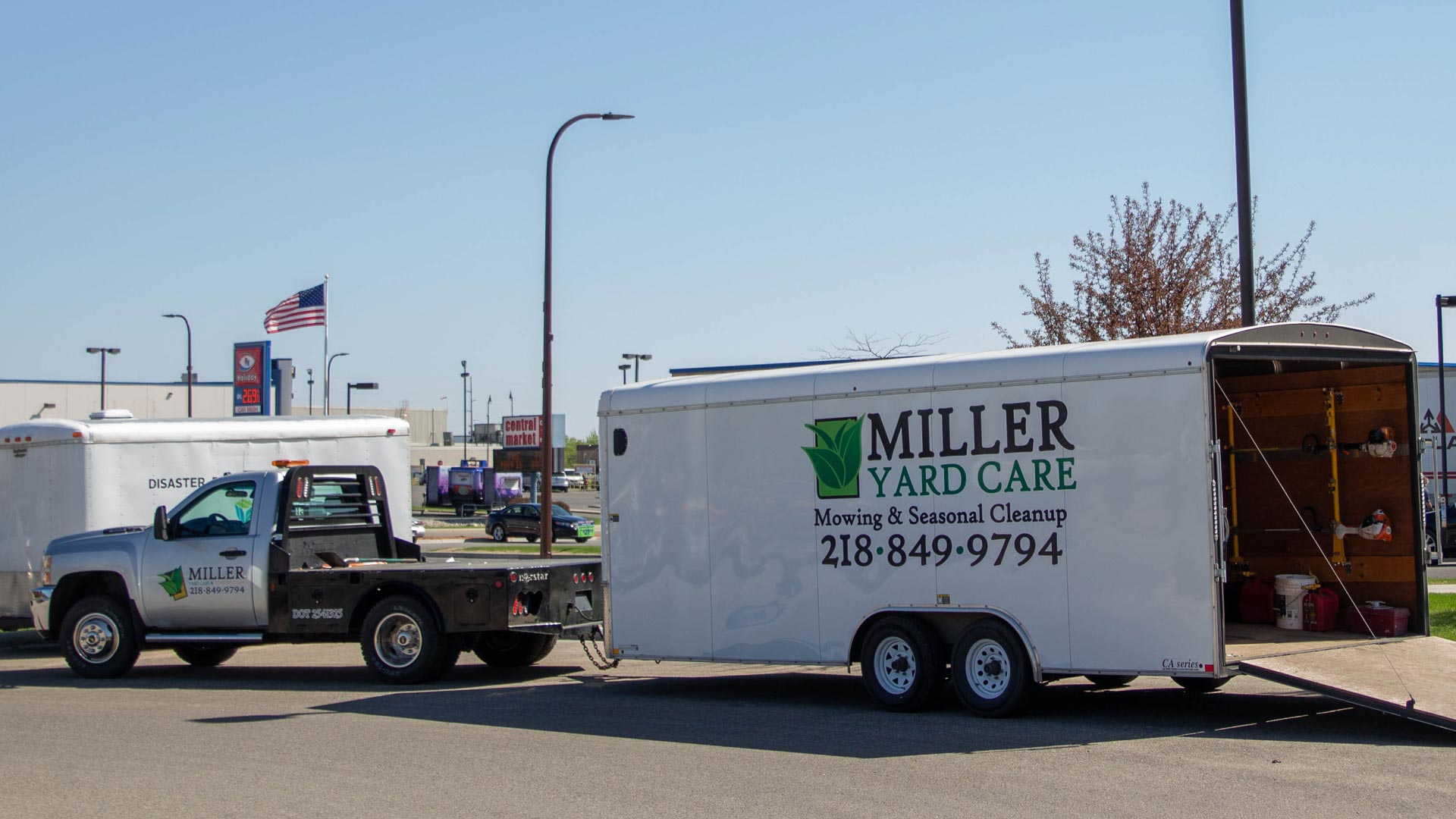 Our teams truck and trailer full of all our lawn equipment to service our clients in and around Detroit Lakes. Minnesota