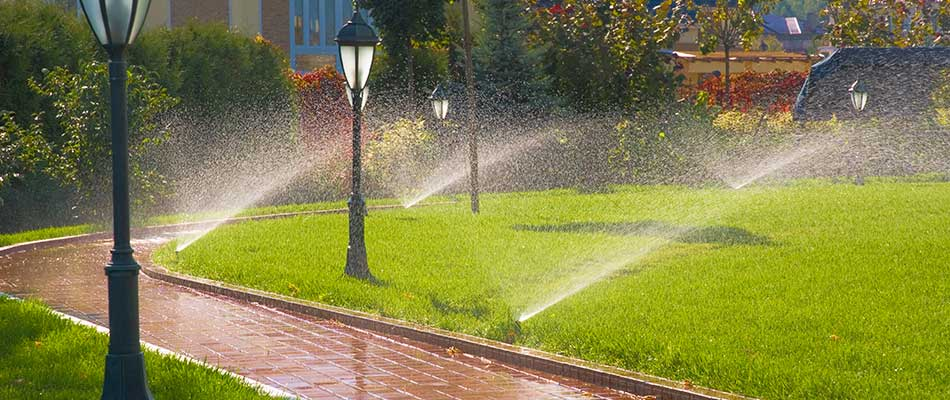 A sprinkler system in Shoreham, MN.
