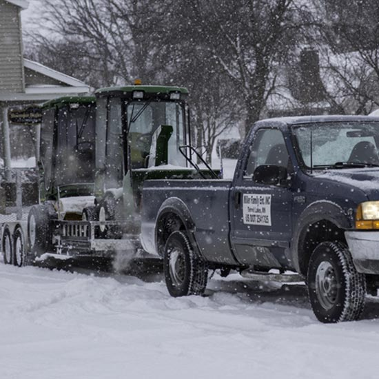 Our truck and trailer prepared to go out and plow snow from parking lots across Detroit Lakes,MN.